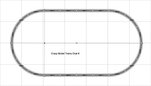 Oval 04 Bachmann 38'' X 74'' HO Scale E-Z Track With Gray Roadbed and Nickel Silver Rails Train Set