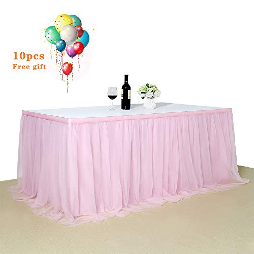 B-COOL Tulle Pink Table Skirt 3yards Romantic TUTU Fluffy Table Skirt for Wedding Baby Shower Girl Princess Birthday Party Decor(L9(ft) H 30in) -