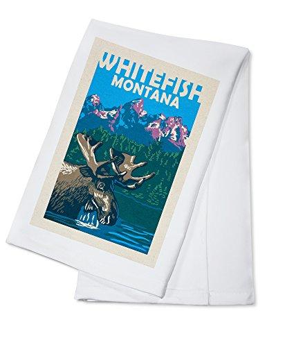Whitefish, Montana - Moose in Lake (100% Cotton Kitchen Towel)