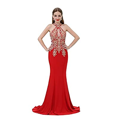 Mikucos Applique Beaded Formal Mermiad Evening Prom Dress Embroidery Long Sexy