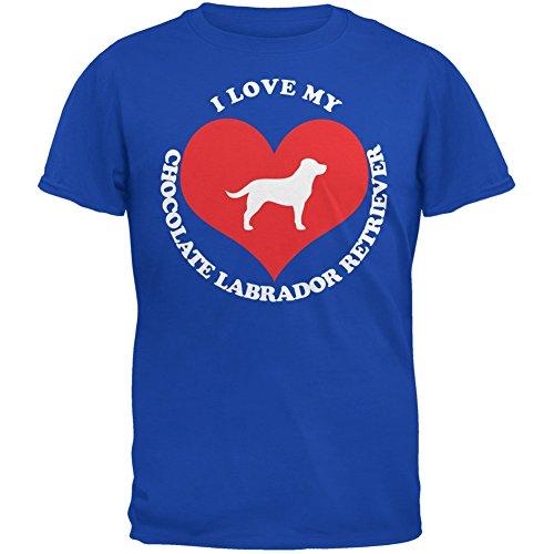 Valentines I Love My Chocolate Lab Royal Adult T-Shirt - X-Large