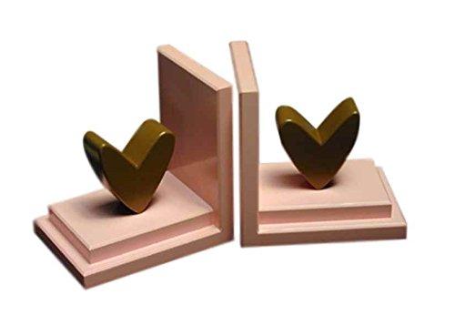 Modern Heart Bookends (Chocolate Heart w Pink Base)