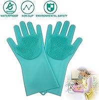 JBingGG Magic Silicone Dishwashing Gloves Magic Silicone Gloves Dishwasher Gloves Kitchen Tool for Cleaning, Dish Washing, Washing The Car, Pet Hair Care - 1 Pair