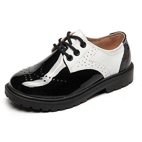 Hoxekle Boys Wingtip British Oxford Shoes Kids Toddler Breathable Laces up School Uniform Dress Shoes by Hoxekle