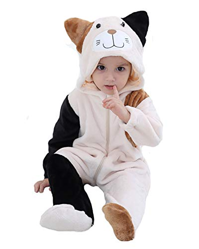 Tonwhar Baby Animal Cat Onesie Romper Halloween Costume (100 Ages 18-24 Months, Cat)