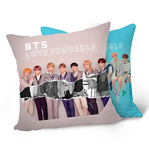 Teblacker BTS Pillowcase | Kpop Bangtan Boys [Love Yourself 結 Answer] 40x40CM Soft Velvet Throw Pillow Case with Double-Sided Different Patterns | Best Gift for The Army(Style - Park Velvet Place Sofa