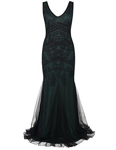 PrettyGuide Women 1920s Prom Gown Long Cocktail Formal Evening Dress L Green
