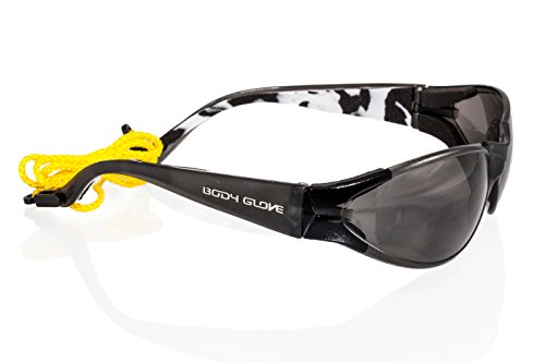 Black Line Glass - Body Glove 90214 V-Line High Impact Safety Glasses, Black Frame, Smoke Lens