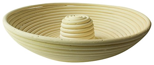 Bread Experience Circular Bread Riser Round Couronne Banneton Proofing Bread Basket with Center Riser 11.5 inch