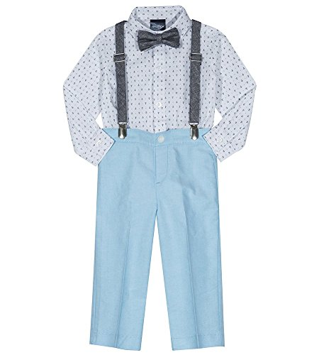 Nautica Baby  Boys' Set with Shirt, Pant, Suspenders, and Bow Tie, Blue Atoll Anchors, 18M