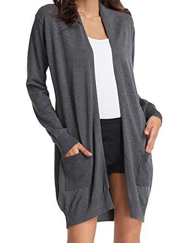 GRACE KARIN Women's Casual Open Front Long Sleeve Knit Cardigan Sweater Coat Pockets Gray M