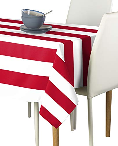 Red & White Cabana Stripe Milliken Signature Tablecloths - Assorted Sizes (60