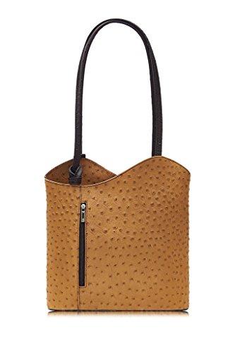 Retail Chocolate Amethyst Italian Backpack Womens Leather Ostrich Print Tan Shoulder Bag Handbag Ladies aqwZfFq