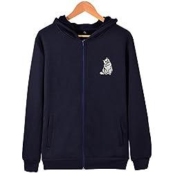 Unisex British Shorthair cat Zip Up Hoodie Jackets Cotton Outwear Plus Size Sweatshirt