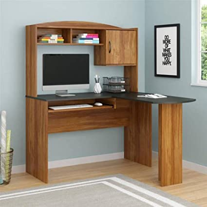 Corner L Shaped Wood Office Desk With Hutch In Black/Brown