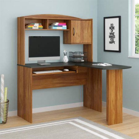 Mainstays L-Shaped Desk with Hutch, Multiple Finishes (Black & Alder) (Mainstays L Shaped Desk With Hutch Multiple Finishes)