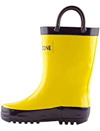 Kids' Waterproof Rubber Rain Boots with Easy-On Handles