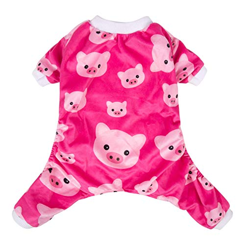 (CuteBone Pink Pig Dog Pajamas Cute Cat Clothes Pet Pjs Onesie, Small P46S)