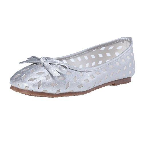 Damara Moda Mujeres Zapatos Planos Con Lazo Bailarinas Zapatillas Boca Baja Plateado