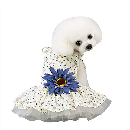 Petea Dog Clothes Daisy Flower Gauze Tutu Dog Dress Vest Apparel Skirt Clothes Pet Puppy Birthday Princess Clothes for Dogs and Cats (Blue Flower, XS)