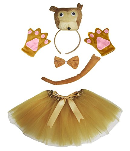 3D Monkey Headband Bowtie Tail Gloves Brown Tutu 5pc Girl Costume Birthday Party (One Size) (Costume Monkey Tail)