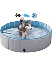 Yaheetech Hard Plastic Foldable Dog Swimming Pool for Large Dogs Collapsible Pool Bathing Swimming Tub Pool