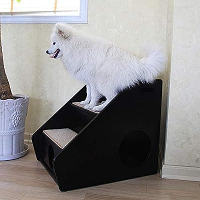 SHIJINHAO-Árbol de gato Multifuncional Escalera Madera Maciza Escaleras De Perro Sisal Tablero De Rascar Condominios Muebles For Mascotas (Color : Black, Size : 43x60x52cm): Amazon.es: Hogar