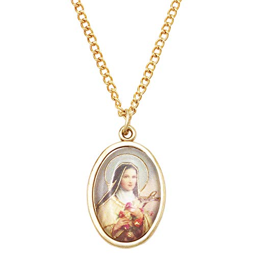 Rosemarie Collections Women's Religious Oval Medal Pendant Necklace (St Therese)