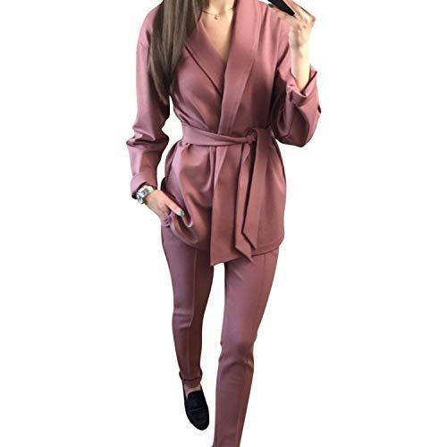 Tuta Cintura V A Giacche Da Comradesn Cappotti Donna Due Con Giacca E Pantaloni Ufficio Scollo Pezzi Black 2 COpqw8