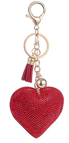 Giftale Leather Heart Tassel Handbag Charms Keychain for Women Purse Accessories - Red Heart Handbag