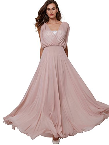 Sisjuly Women's A-Line V-Neck Cap Sleeves Lace Long Evening Dress US10 Pink