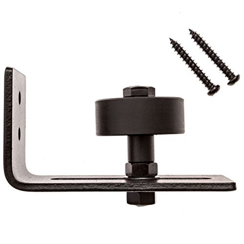 Adjustable Steel Sliding Barn Door Guide Roller- Mount Screws Included, Black Rust Proof Floor Guide, Easy Installation Perfect For All Barn Door Sizes, Maximum Durability For Lifetime Use (Barn Lights Pulley Pottery)