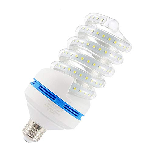 Spiral LED Light Bulb, 200W Equivalent LED Bulb,24W CFL Replacement Light Bulb, Daylight White 6000K, E26 Base, 2500 LM, Not-Dimmable, for Photo Light,Warehouse,Garage Lighting, Barn, Patio, etc.