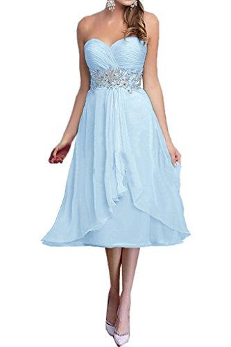 Traegerlos La Brautmutterkleider Blau mia Chiffon Himmel Abendkleider Partykleider Kurz Hell Blau Braut Damen AqwZXqa