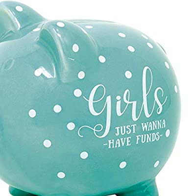 Dicksons Girls Just Wanna Have Funds Mint Green 5 x 5 Glossy Ceramic Toy Piggy Bank: Toys & Games