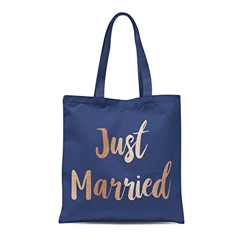 Just Married Printed Tote Shopping Bag Wedding Bride Groom Honeymoon Party Gift Navy With Rose Gold Print