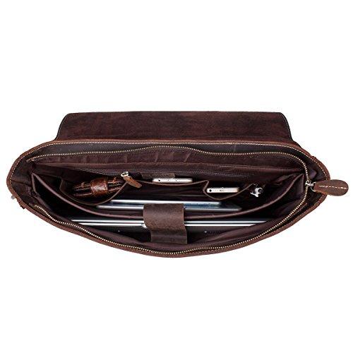"""S-ZONE Handmade Vintage Crazy Horse Leather 15.6"""" Laptop Briefcase Messenger Bag Shoulder Satchel Bag by S-ZONE (Image #3)"""