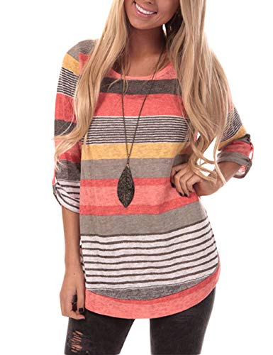 HUHHRRY Womens Striped Sweatshirt Tunic Tops Long Sleeve Casual Crew Neck T Shirt Top Blouse, Orange Color Striped, Medium