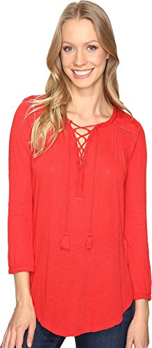 Lucky Brand Women's Lace Front Peasant Goji Berry Shirt - Going Goji Berry