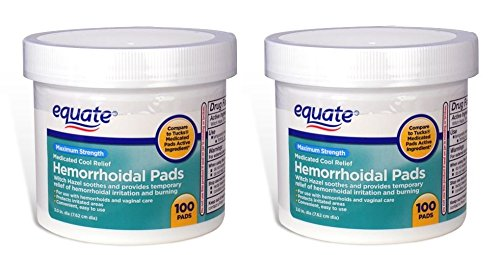 Hemorrhoidal Medicated Pads - Equate - (Pack of 2) Hygienic Cleansing Pads, Hemorrhoidal Vaginal Medicated Pads, 100 Pads Each