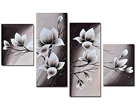 Wieco Art Large Floral Oil Paintings on Canvas Wall Art for Living Room Bathroom Home Decorations Elegant Blooming Flowers 4 Piece Modern 100% Hand Painted Gallery Wrapped Abstract Flowers Artwork L LEPAC7835