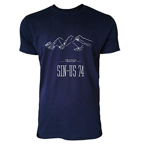 SINUS ART® Handgezeichnete Berglandschaft Herren T-Shirts in Navy Blau Fun Shirt mit tollen Aufdruck