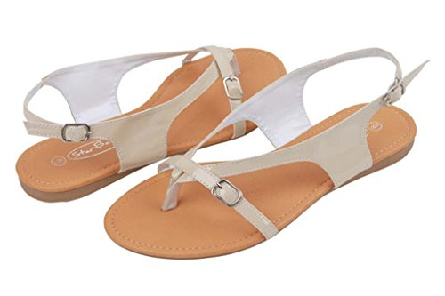 Starbay Womens Gladiator Sandal Shoes Beige-8