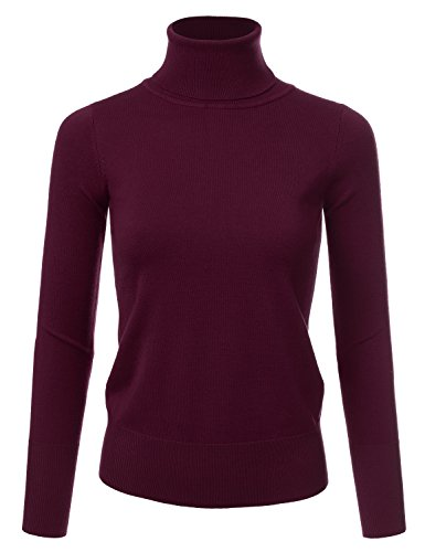 NINEXIS Women's Basic Long Sleeve Soft Turtle Neck Sweater Top Burgundy ()
