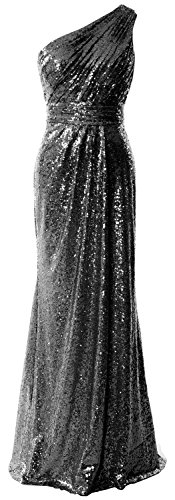 MACloth Women One Shoulder Sequin Long Prom Dress 2017 Formal Party Evening Gown Negro