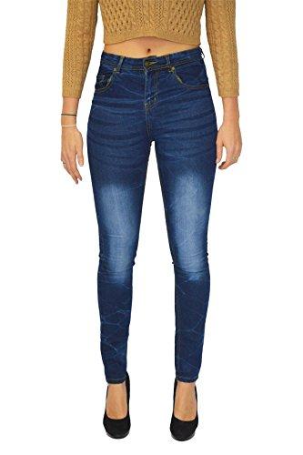 Aderenza Colore Super Comodo Sbiadito Media Blu Donna Vita Di Da Stile Stretto A Ma Jeans OXz0a