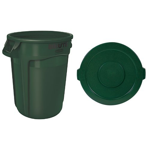 Rubbermaid Commercial BRUTE Trash Can, Vented, 32 Gallon, Dark Green with Lid (FG263200DGRN & FG263100DGRN)