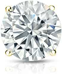 14k White Gold 4-Prong Basket Round Diamond SINGLE STUD Earring (1/8-1ct,J-K,I2-I3) screw-Back