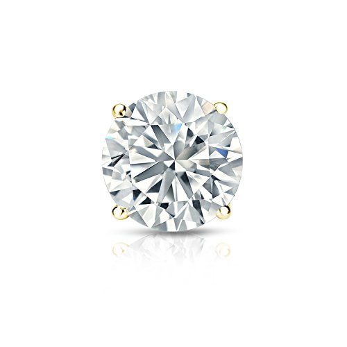 18k Yellow Gold 4-Prong Basket Round Diamond SINGLE STUD Earring (1/5 ct, O.White, I2-I3) by Diamond Wish