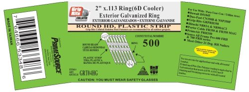 Grip-Rite 6d Cooler- 2-Inch x .113 Ring shank hot-dipped galvanized 21 Degree Full Round Head, Plastic Collated, Stick Framing Nails (500 per tub)